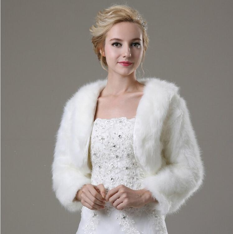 95253c7dd6 Long Sleeve Wedding Bolero Jacket Women Winter White/Ivory Bridal coat  Girls Faux fur Shrug Cloak