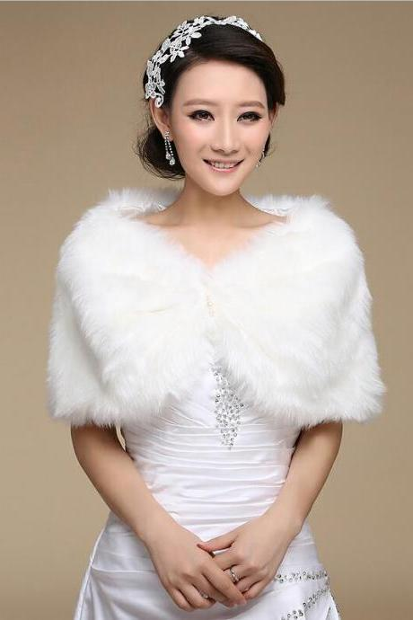 white/Ivory Faux Fur Wrap Bridal Wedding Bolero Warm Shawl Shrug Stole Women Jacket