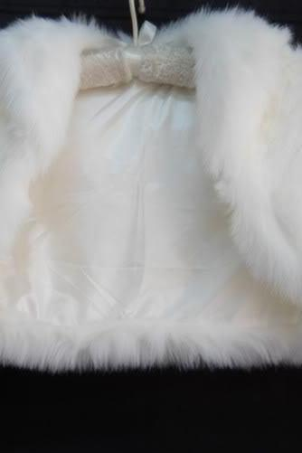 Classic ivory/black fake fur shawl bride wedding gown Bolero coat Shrug Jacket