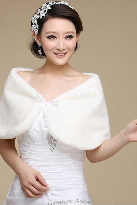 2016 New Ivory/White Bride Fake fur shawl Bolero Shrug wrap Wedding dress Jacket Coat