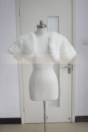 White/Ivory Bridal Jackets Fake fur shawl Short-sleeved coat Wedding Bolero cloak Shrug
