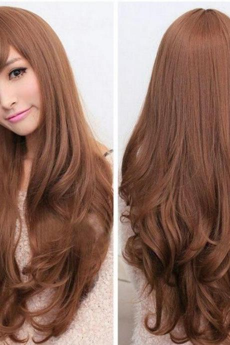 New Fashion Womens Long Curly Wavy Wigs Cosplay Girls Hair Full Wig Party