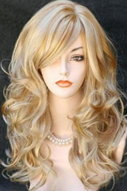 Fashion Women's Long Wavy Curly Blonde Wig Synthetic Hair