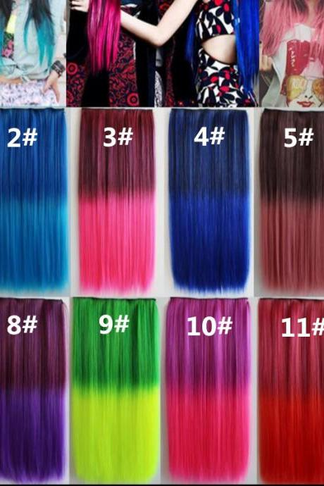 Sexy hairpiece Clip straight hair Multicolor Highlighting Colours hair extensions synthetic hair