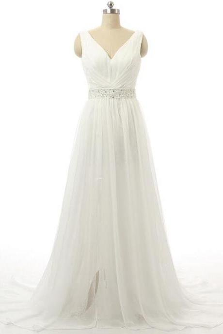 Sexy White/Ivory Chiffon Wedding dress A Line V Neck Sleeveless Floor Length Bridal gown Beading Evening Dresses