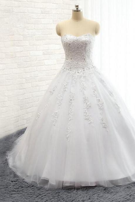 2016 New Lace Wedding Dress Tulle Ball Gown Lace Applique Beading Sexy Sweetheart Bridal gown Plus size