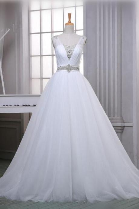 A-Line Soft Tulle Sparkly Wedding Dresses 2016 Beaded White/Ivory Simple Bridal Gowns With Chapel Train Plus size