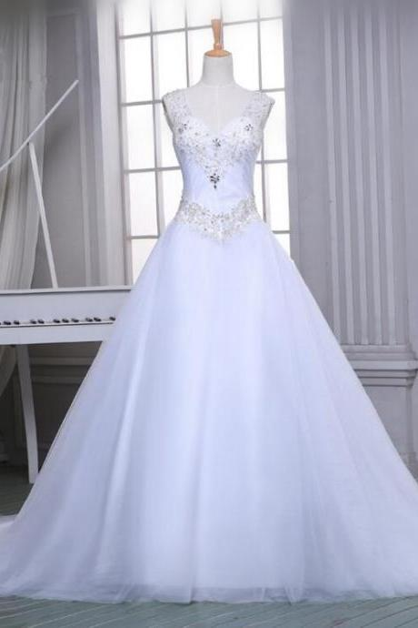 Gorgeous A Line Tulle White/Ivory Women Elegant Wedding Dress 2016 Cathedral Train Beaded Sparkly Beading Wedding Gowns