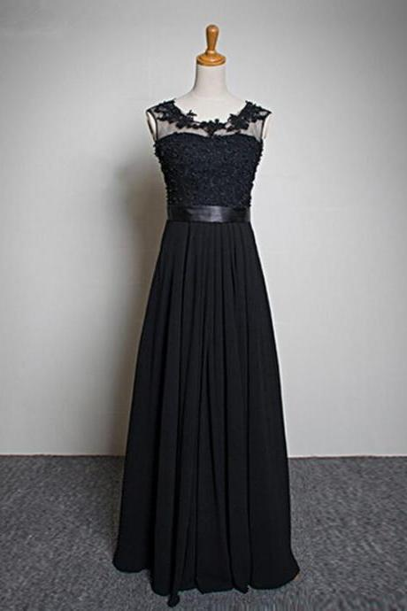 Elegant Black 2016 Long chiffon prom dress Floor-Length Pearls Evening dress A-Line Bridesmaid dress sexy Backless prom dresses