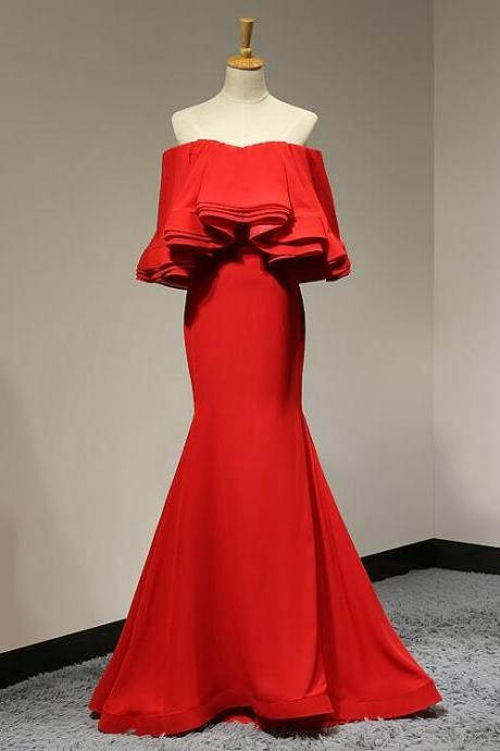 Red Off-The-Shoulder Mermaid Prom Dress with Ruffles