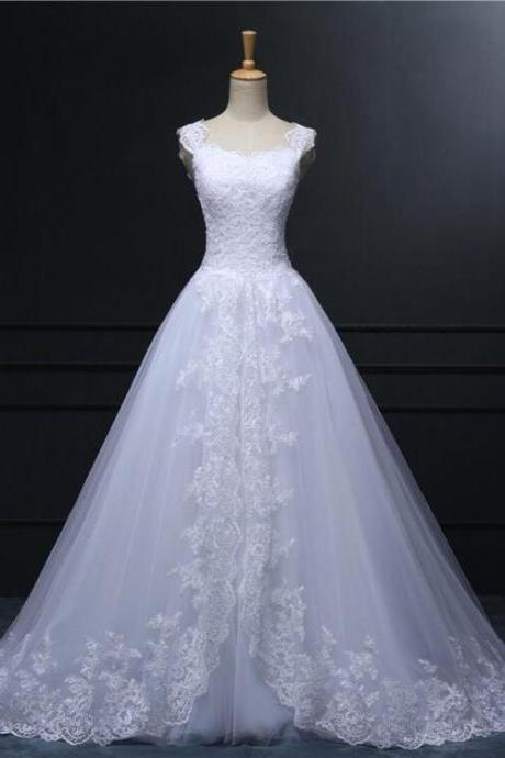 Sweetheart Lace Tulle A-Line Long Wedding Dress 2017 Bridal Gown Plus size