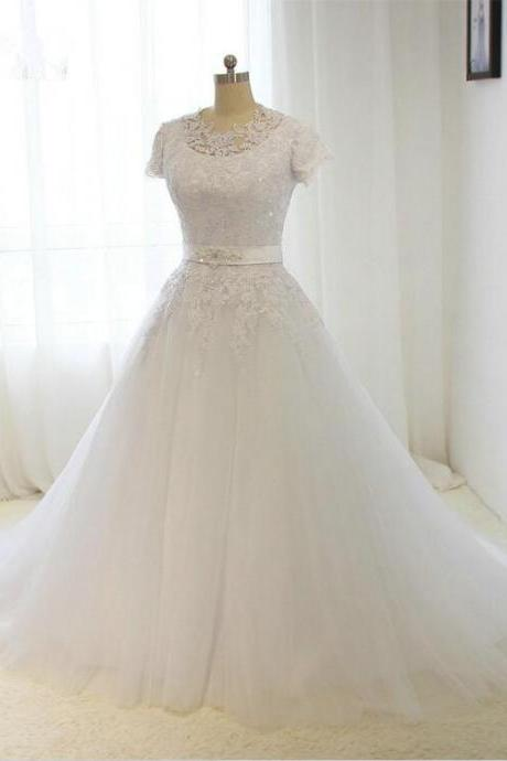 2016 Vintage A-line Wedding Dress Short Sleeves White / ivory Bride dress Custom size