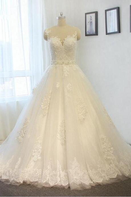 Elegant Lace Wedding Dress Custom Made White / ivory A-line Bride dress Plus size