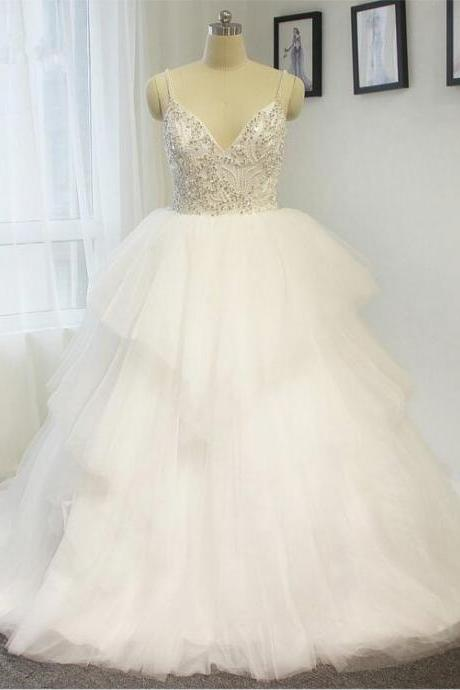 2016 Charming wedding dress sexy strap wedding dress Beading Tiered A line White / ivory Bride dress Custom size